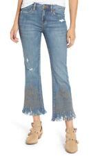 NWT $108 BLANKNYC Studded Crop Flare Jeans in SZ 26 Shredded Medium Wash