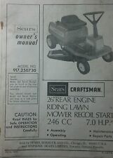 Sears Craftsman Lawn Riding Mower Tractor Owner & Parts Manual 36p 917.250730