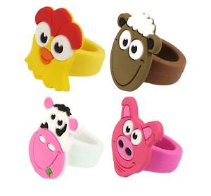12 Farm Animal Rings - Pinata Toy Loot/Party Bag Fillers Childrens/Kids