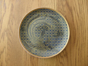 Williams Sonoma Lunar Dinner Plate Red Dragon or Blue Phoenix-Asian Meal-New