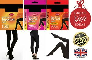 New Ladies Silky 150, 300 Denier Fleece Warm Thermal Footless Footed Tights