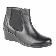 Zip Wedge Ankle 100% Leather Upper Shoes for Women