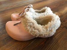 Crocs Girls Pink Faux Fur Lined Slip On Clogs Size C 8/9 Vguc