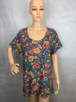 Lularoe Women's Blue Red Soft Short Sleeve Scoop Neck T Shirt Top Size 2XL