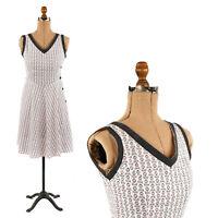 Vintage 30s 40s Crisp Cotton Novelty Print Side Button Summer Sun Day Dress S