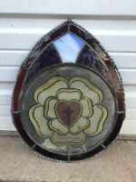 Antique Church Glass Medallion In Stained Glass Sun Catcher Cross Religious