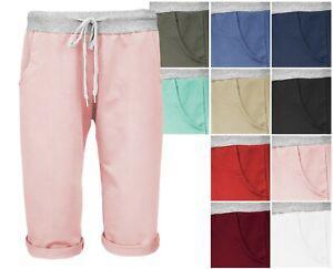 Kurze Jogger DamenSweat Pants Bermuda Sommer Hose Baumwolle Capri Shorts G 36-44