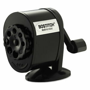 Bostitch Counter-Mount/Wall-Mount Antimicrobial Manual Pencil Sharpener Black