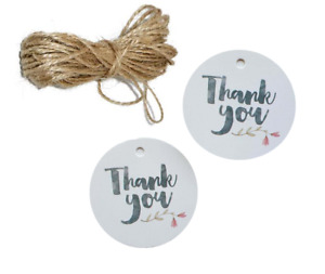 Jewellery Display Gift Tag Labels Thankyou White With String 4cm