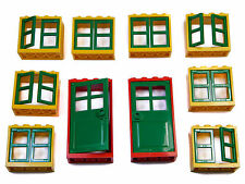 LEGO windows and doors for house (pack of 10) 2x4x3 yellow green red BRAND NEW