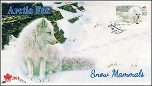 CA21-021, 2021, Snow Mammals, First Day of Issue, Pictorial Postmark, Arctic Fox