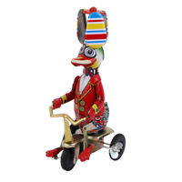 Vintage Mechanical Clockwork Wind Up Circus Duck on Tricycle Tin Toy Gifts