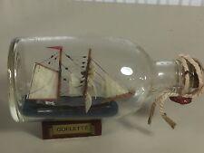 Bateau bouteille ancien maquette GOELETTE marine, curiosité BOAT IN THE BOTTLE