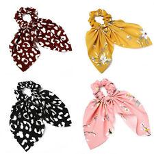 Fashion Flower Print Scrunchie Women Elastic Hair Bow Hair Ties Hair Accessories
