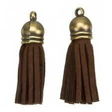 Suede Tassel Charms with Bronze Cap for Jewellery Making Brown 36mm (H20/4)
