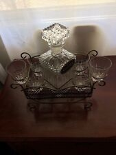 Vintage Glass Whiskey Decanter and Six glasses in Metal Caddy Tray