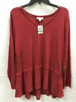 Style & Co Vneck Longsleeve Fleece Waffle Top Red M