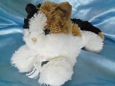 """Calico Plush Kitty Cat Stuffed Animal with Blue Eyes Hand Puppet 12"""""""