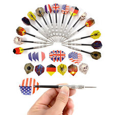 Pack of 15 Steel Tip Darts Silver Finish Shaft Darts Set With 30 Flights UK