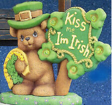 Ready to Paint Ceramic Bisque Kiss Me I'm Irish Bear with base and electric