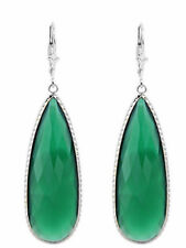 14K White Gold Gemstone Earrings With A Long Pear Shaped Green Onyx