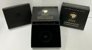 (2) 2021 W American Eagle 1 Oz Gold Proof Coin United States Mint OGP - No Coin
