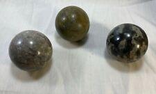 Genuine Granite Orbs Set of 3. Gray Tones.