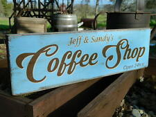 "Distressed Primitive Country Wood Sign - Your Name Coffee Shop 5.5"" x 19"""