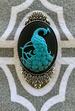 PEACOCK CAMEO Teal On Black SILVER Brooch Pin Victorian Vintage Style QUALITY