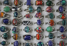 Wholesale jewelry mixed Lots 60pcs colorful natural stone Lady's rings