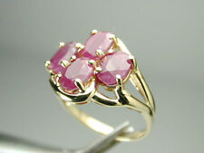 1384 Ring 14k Solid 100% Yellow Gold with 4 Large Rubies in Cluster Size 7