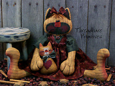 PATTERN Primitive Cat Doll Momma Kitty Cat Doll & Baby Kitty Ornie FREE SHIPPING