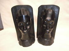 Vintage Hand Carved Hardwood Ebony Pair Of Wooden African Tribal Bust Bookends