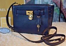 NWT Michael Kors HAMILTON TRAVELER Messenger Pebbled Leather Bag NAVY $298