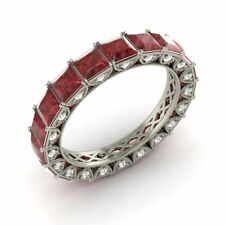Certified 3.49 Ct Princess Garnet & Diamond Eternity Band Ring 10k White Gold