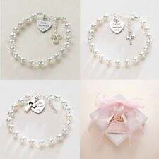 First Holy Communion Bracelets for Girls. Personalised with Any Engraving.