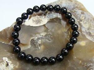 Men's Women's Elastic Beaded Bracelet 8mm BLACK AGATE gemstone beads 7.5inch