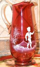 "MARY GREGORY CRANBERRY RED GLASS PITCHER GOLD GILT RIM 10.5"" H BOY BIRD ENAMEL"