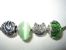 4 PC Good Luck charm Cats Eye Green Bead For European Bracelet
