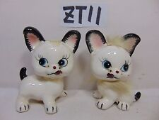 Vintage Fur Cat Kitten Ceramic Salt Pepper Set Japan Made Rare 1950'S Kitty