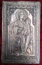 Ancienne icône argentée orthodoxe unique de la Vierge Marie et du jeune Jésus