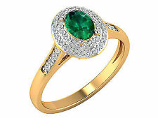 14k Yellow Gold Diamond Emerald Ring Jewelry