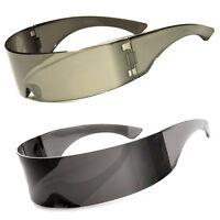 Futuristic Cyclops Sunglasses Retro Party Shield Full Mirror Black Silver Lens f