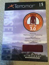 Terramar Womens 3.0 BaseLayer S Merlot Vertex Climasense Top Half Zip Long Sleev