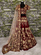 Maroon Bride Wear Lehenga Choli Indian Ethnic Wedding Lengha Velvet Lahanga Sari