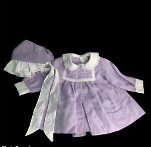 Vintage Polly Flinders Jacket Dress & Bonnet Purple 24 Mth Hand Smocked Eyelet