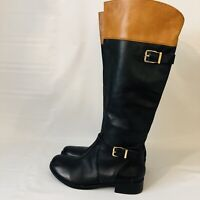 Gianni Bini Riding Boots Size 5.5 Brown Black Leather Side Zip Tall Knee High