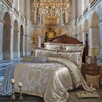Luxury 4pc. Satin Jacquard Queen King Dark Duvet Cover Set