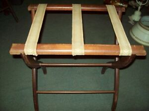 Vintage Wooden Folding Luggage Suitcase Rack Stand Valet Tapestry Straps