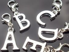 Personalised Initial Clip On Charm - Silver Plated Letter for Bracelets
